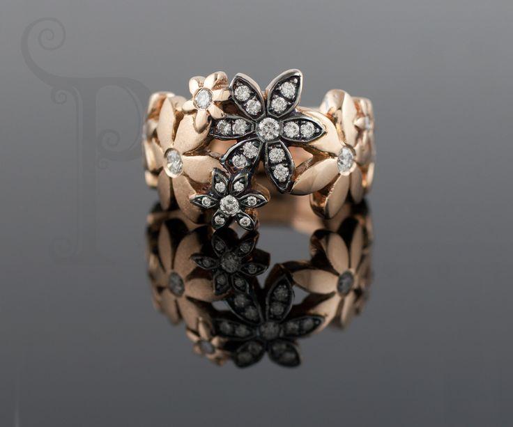 Handmade 18ct Rose Gold & Black Rhoduim Plated Cathrine Ring, Swiss Set With Round Brilliant Cut Diamonds