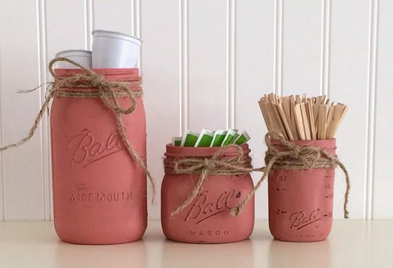 Mason Jar Storage Red Canister Set Coffee Canister Set