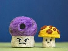 "Crochet pattern of Sun & Fume Shrooms from ""Plants vs. Zombies"" by AradiyaToys"