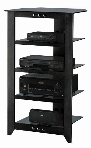 Sanus Foundations Natural NFA245 Audio Stand  Steel Glass Hardwood  Black >>> Click on the image for additional details.