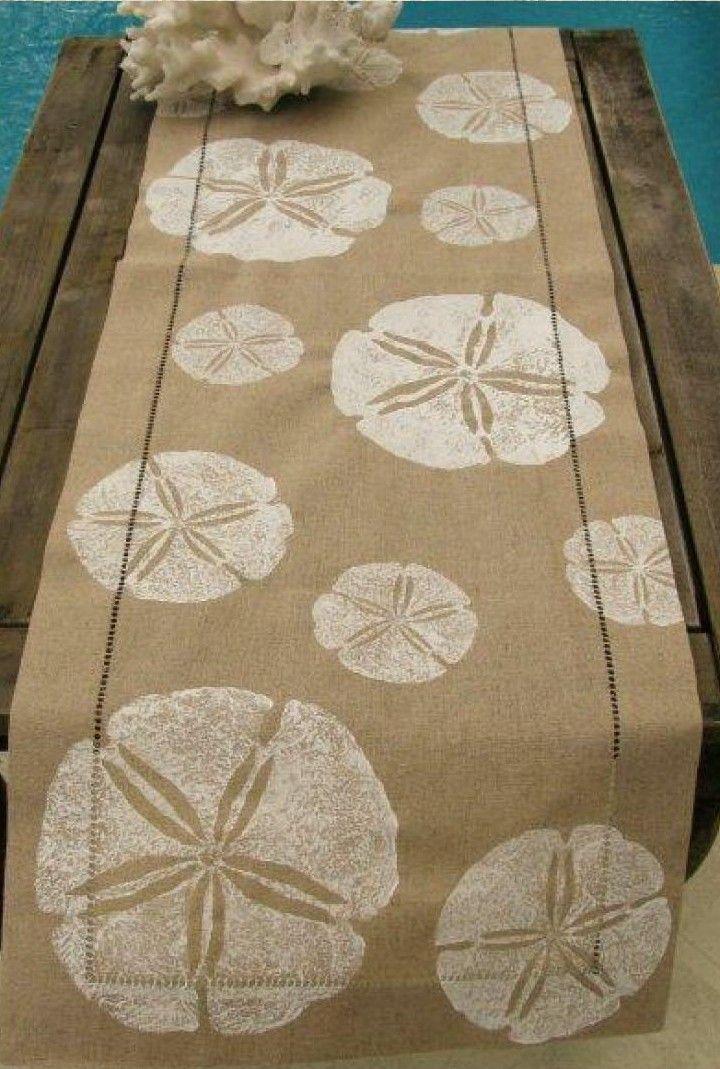 Natural Linen Table Runner With White Sand Dollars Beach