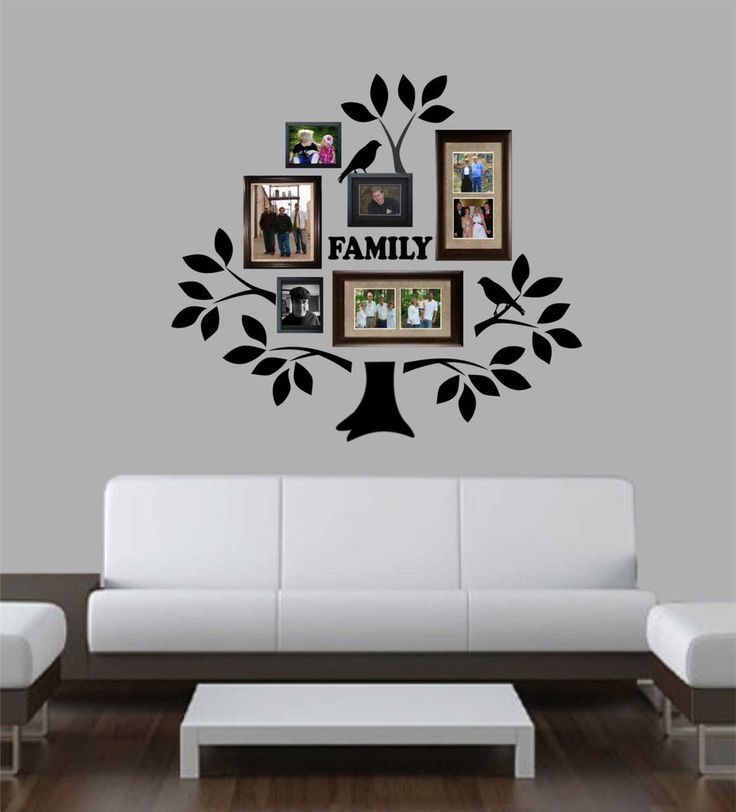 Family photo tree kit decal vinyl wall lettering wall for The best of family decals for walls