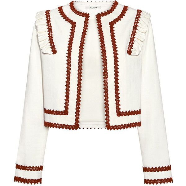 Ganni - Idaho Embroidery Ruffle Trim Jacket (4.061.995 IDR) ❤ liked on Polyvore featuring outerwear, jackets, cropped jacket, white ruffle jacket, white jacket, embroidery jackets and embroidered jacket