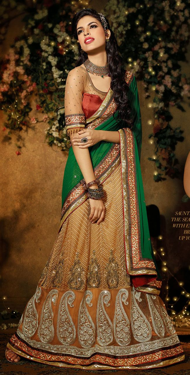 Beige Brown and Green Faux Georgette With Net Embroidered Saree - IG8070 USD $ 108.76