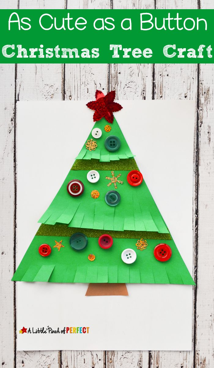 As Cute as a Button Christmas Tree Craft for Kids: Easy to make decoration  or