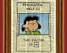 """Lucy """"psychiatric help booth 5 cents"""" Charlie Brown """"Peanuts"""" Upcycled Dictionary Art Print Poster"""