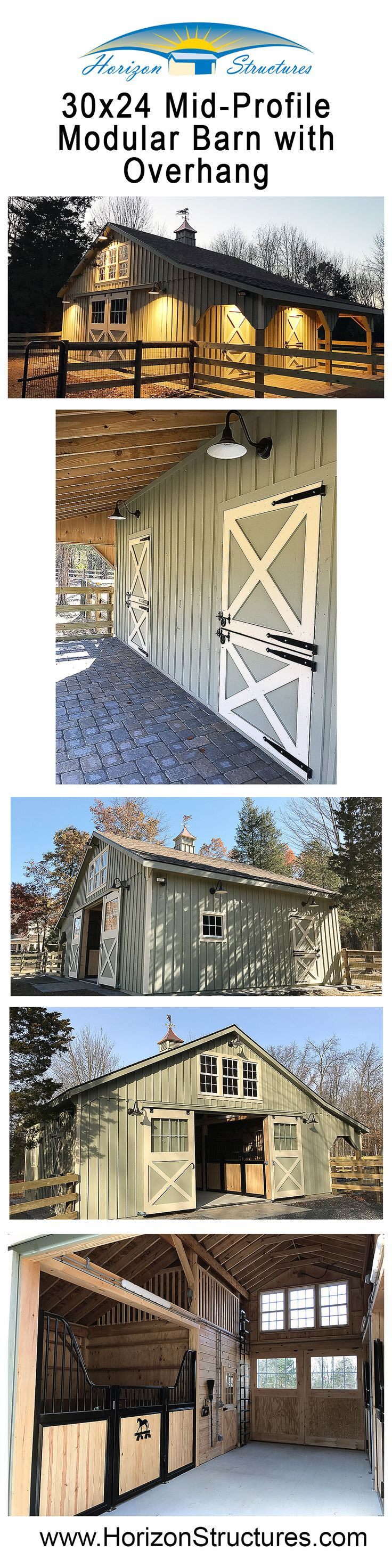 Another charming 4-stall, customized modular horse barn by Horizon Structures