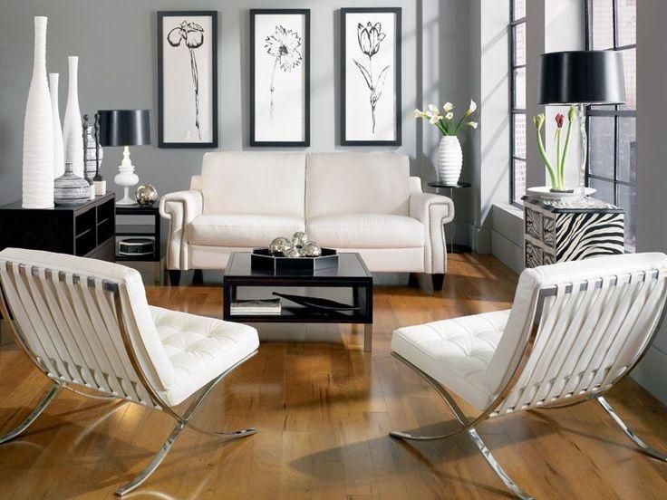 398 best Contemporary Black + White Affair images on Pinterest - white living room sets