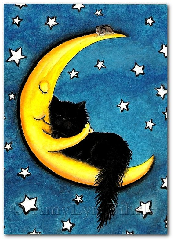 Sweetest of Dreams Black Cat Moon Hug Art Print by AmyLynBihrle, $8.99