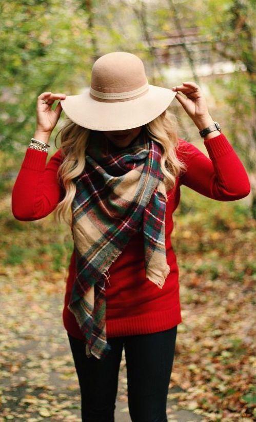 #fall #fashion / red knit + tartan scarf