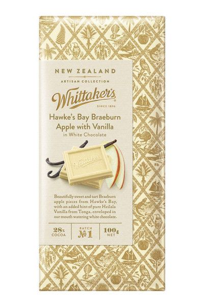 Whittakers Hawkes Bay Braeburn Apple Heilala Vanilla in White Chocolate