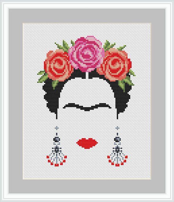 Cross stitch pattern Frida Kahlo