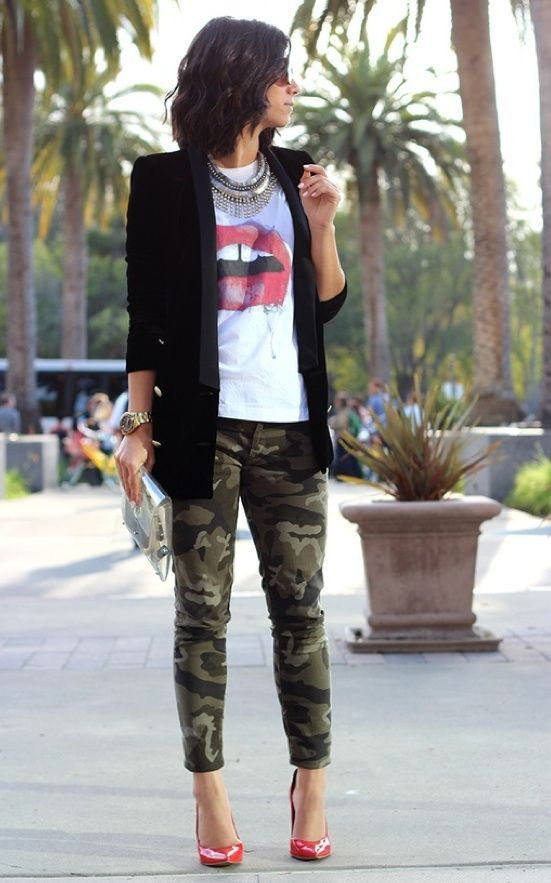 Camo leggins and black dressy blazer