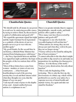 In this activity students will be assigned either Winston Churchill or Neville Chamberlin. The y will write speeches in defense of, or against, appeasement prior to World War II. Students will analyze quotes from each Prime Minister and use that information to write their speeches. Students will share their speeches aloud and complete wrap-up review questions to assess their knowledge. Common Core Aligned!