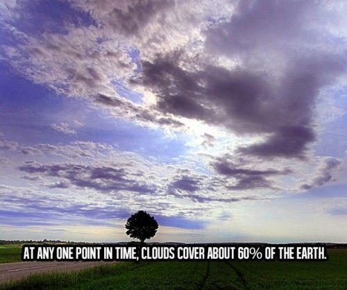 Awesome Facts About Life (10) At any one point in time, clouds cover about 60% of the earth...
