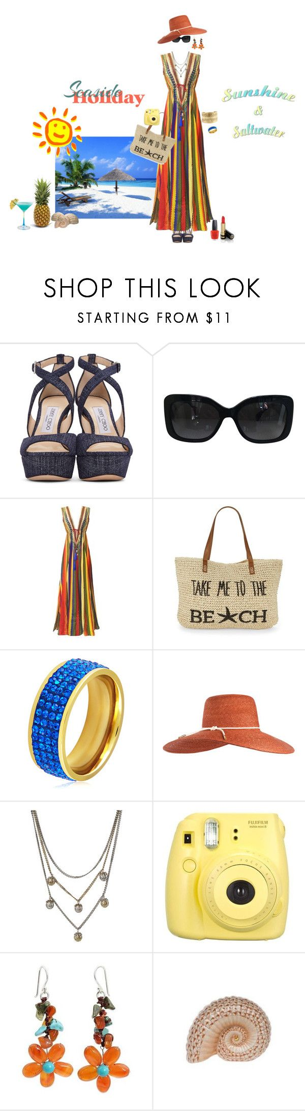 """HOLIDAY ... Sunshine & Saltwater !!"" by fashiongirl-26 ❤ liked on Polyvore featuring Jimmy Choo, Chanel, Straw Studios, West Coast Jewelry, Eugenia Kim, Alexander McQueen, Fujifilm, NOVICA, Herend and Gucci"