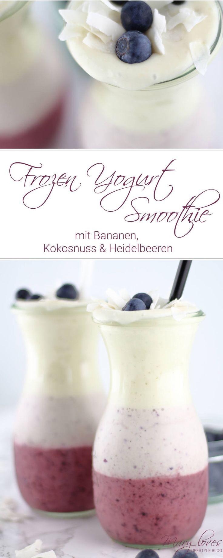 Rezept für den Sommer- Frozen Yogurt Smoothie mit Bananen und Heidelbeeren - Gefrorener Bananen-Heidelbeer-Smoothie mit Kokos und Joghurt - FroYo-Smoothie mit Bananen, Kokosnuss und Heidelbeeren