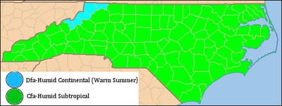 Climate of North Carolina - Blue section has Humid Continental Climate rather than Humid Subtropical