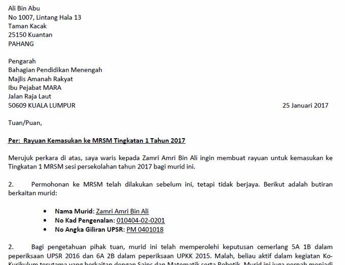 Feature Format Contoh Surat Rayuan Mrsm Surat Format Words