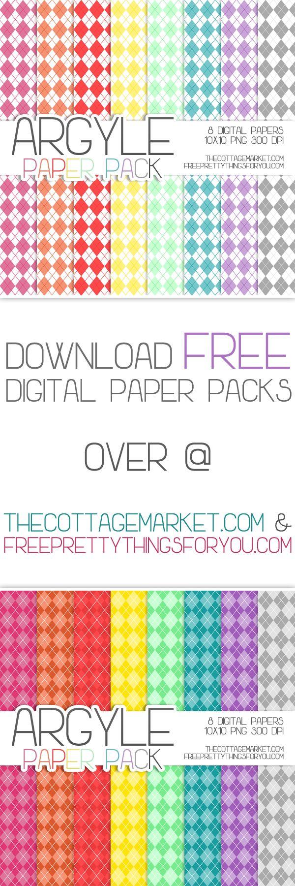 Scrapbook paper designs - Free Argyle Digital Scrapbooking Paper Pack
