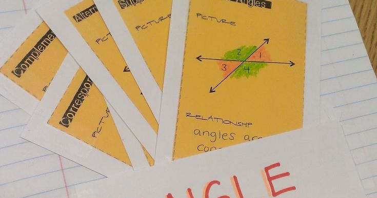 Angle Pairs - flash cards and ideas for lessons