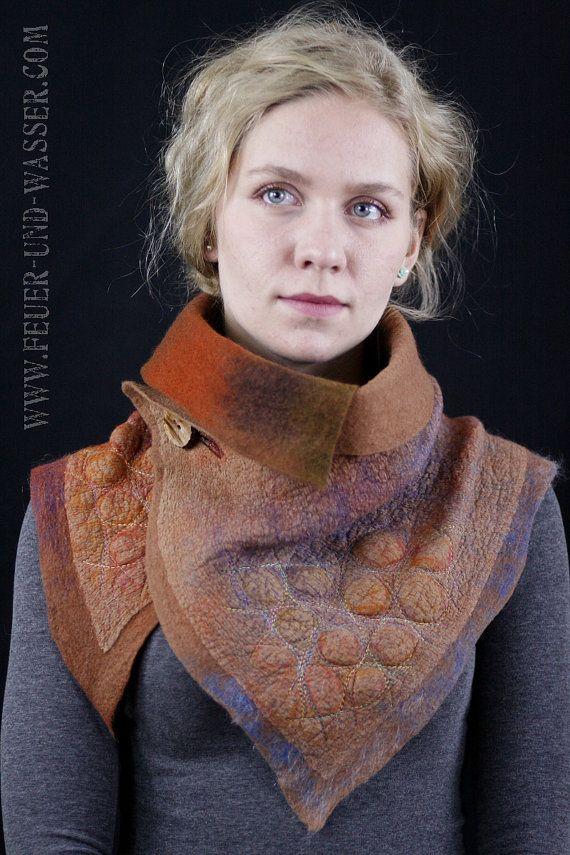 Nuno fieltro bufandas - bufanda de fieltro - fieltro chimenea - perla serpiente - hecho a mano - una de tipo