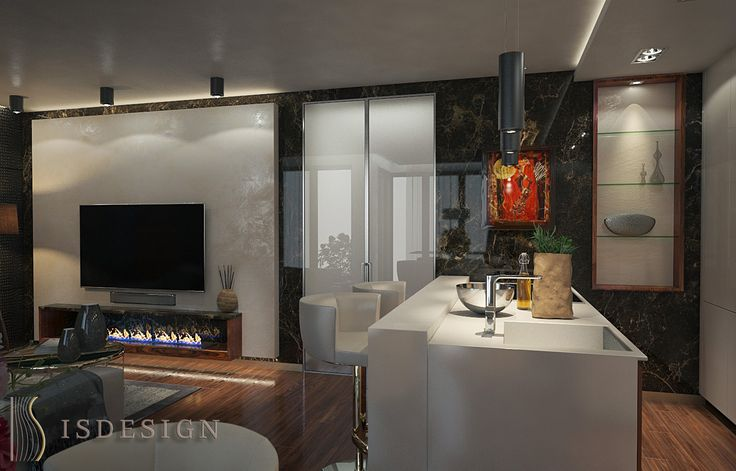 Гостевая (зона кухни) - дизайн проект интерьера четырехкомнатной квартиры в Праге. Архитектор-дизайнер Инна Войтенко.