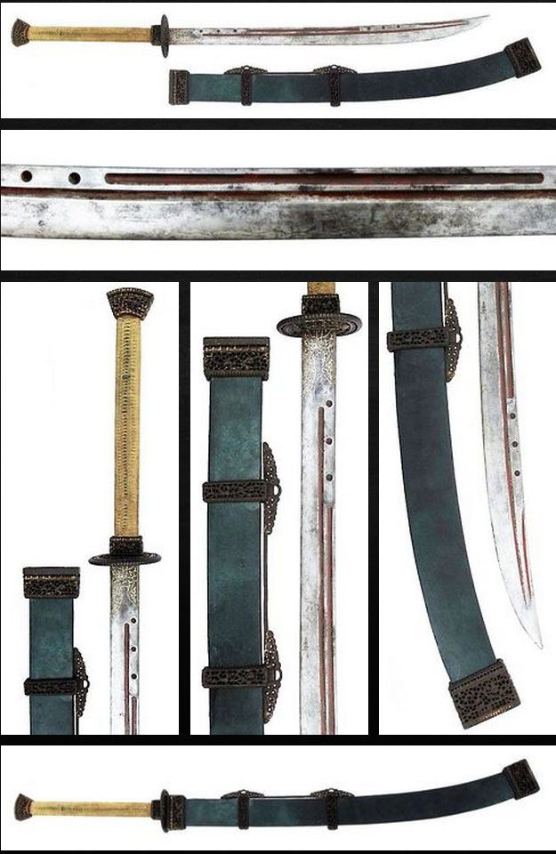 Chinese Two-Handed Saber (Shuang Shou Dao) Dated: first half of the 18th century (Qing Dynasty) Measurements: overall length 126.5cm, blade 79cm The sword is a rare early Qing Dynasty saber, made to order for an officer. The exceptionally long wooden grip is lined with polished green rayskin and retains its original green cord wrap.