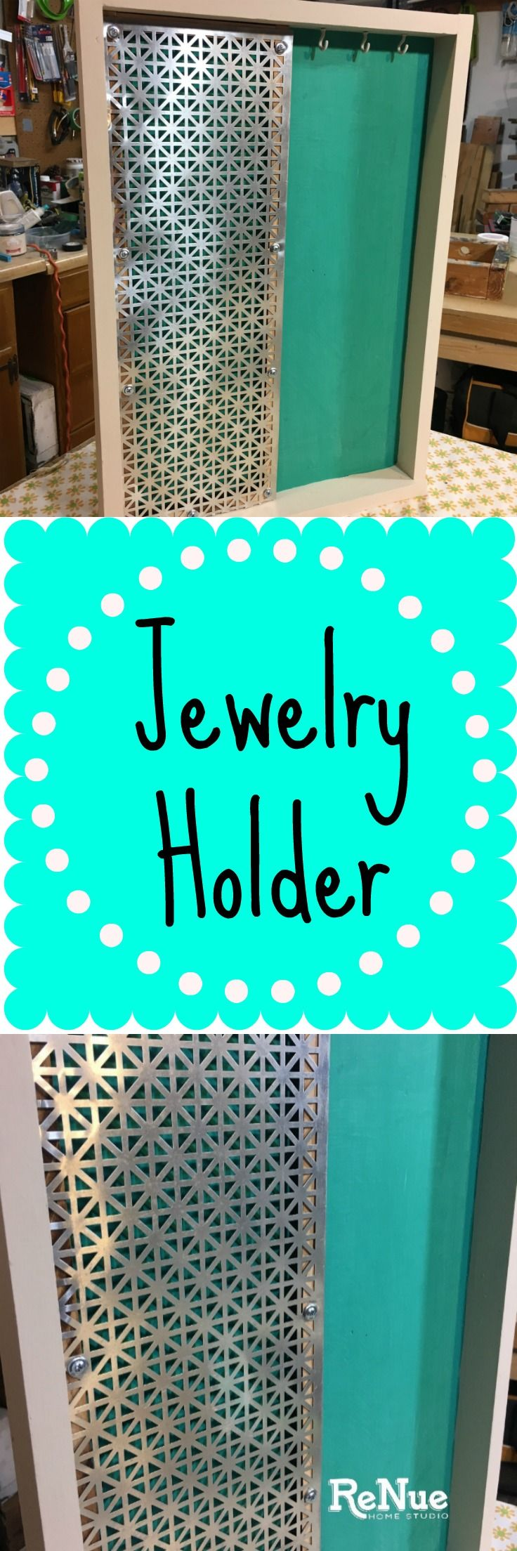 Learn how to make this DIY Jewelry Holder out of a reclaimed drawer and a decorative metal sheet.   Do It Yourself, Earring, Organizer, Storage, Store, Necklace, Necklaces, Bracelet, Bracelets, Hanger, Repurpose, Repurposed, Amy Howard, Paint, Hobby, Craft, Crafts, Crafting, Jewelry Hook, Hooks, Ryobi, Makita, Saw, Drill,