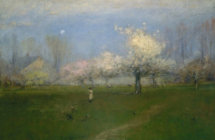 """George Inness (1825-1894) was a prominent American landscape painter and georgist activist. One of the most influential American artists of the nineteenth century, Inness was influenced, in turn, by the Old Masters, the Hudson River school, the Barbizon school, and, finally, the theology of Emanuel Swedenborg, whose spiritualism found vivid expression in the work of Inness's maturity.  (""""Spring Blossoms, Montclair, New Jersey"""" by George Innes)"""