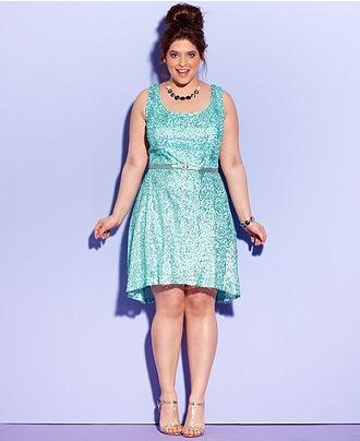 Ruby Rox Plus Size Dress, Sleeveless Sequin A-Line - Plus Size Dresses - Plus Sizes - Macys