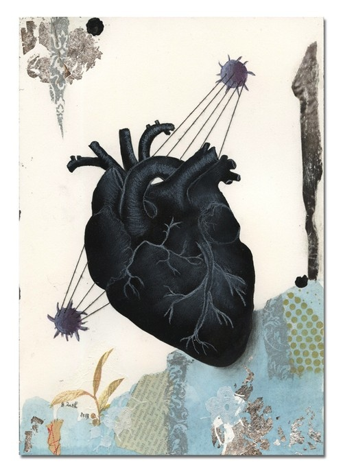 Birgit Zartl. My Black Rabbit Heart, 2013. Thread and silver leaf on paper.