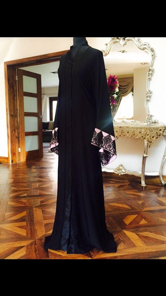 Al Mazyoona Black Floral Lace Abaya Dubai Arabic by Almazyoona