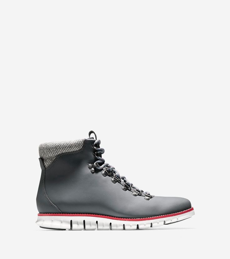 COLE HAAN Men's ZERØGRAND Water Resistant Hiker Boot - Grey-red. #colehaan #