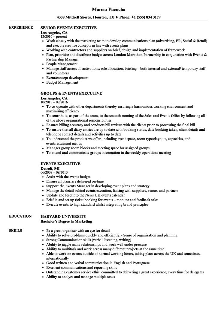 Events Executive Resume Samples in 2020 Executive resume