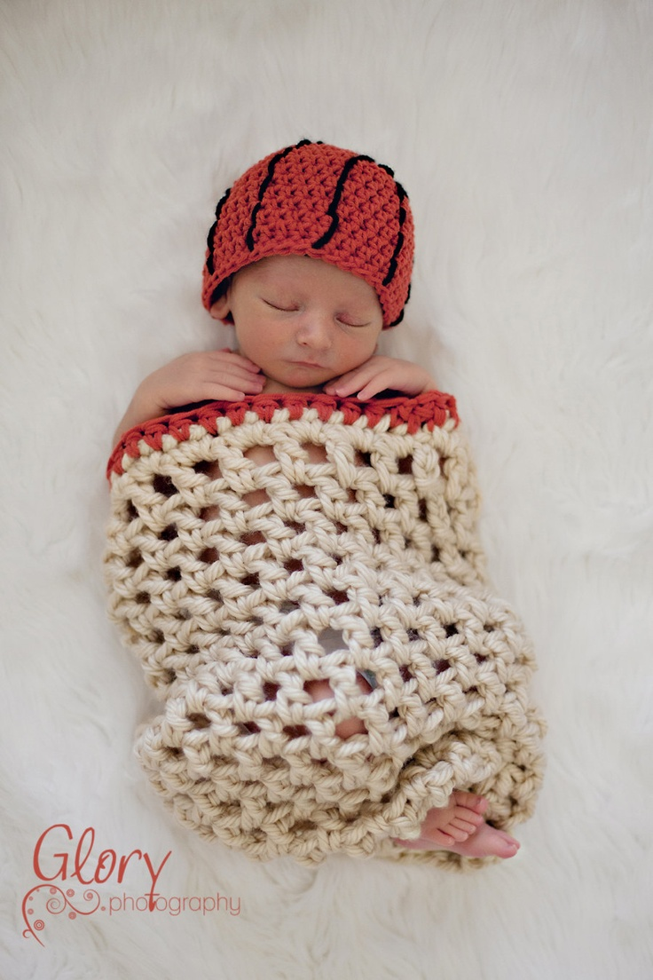 O.M.GOSH...where has this been all my child rearing years???  Basketball Net Cocoon and Basketball Hat, Newborn. $35.00, via Etsy.