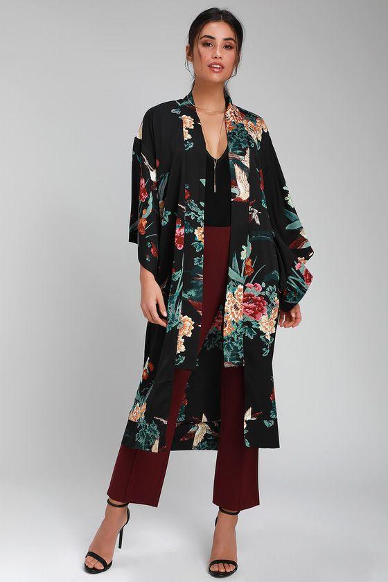 43b483b6e Birds and the Breeze Black Floral Print Kimono in 2019 | what to ...