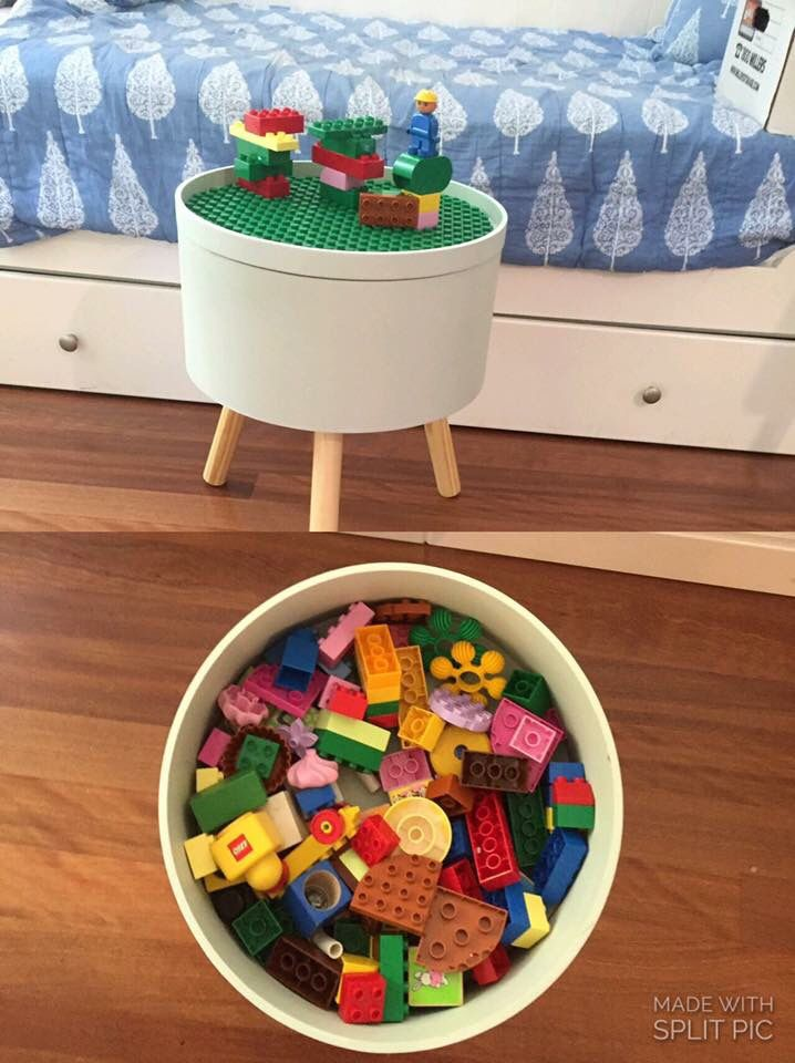 Kmart storage tub hacked with a Lego mat