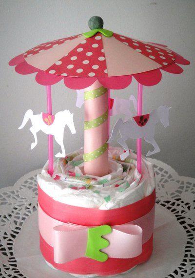 Giostra di pannolini per bimba - Carillon-Idea regalo nascita