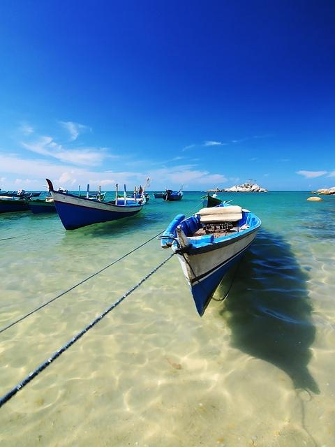 floating boat at Teluk Limau Beach - Banka Belitong - Indonesia