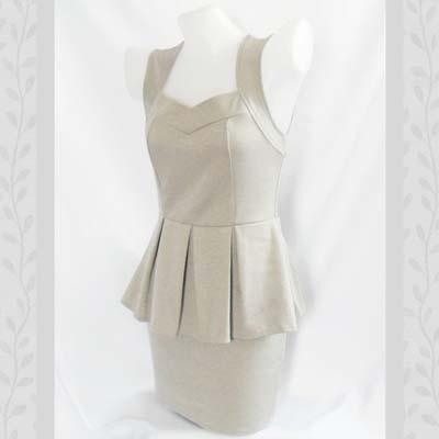Pearl Gray Peplum Dress