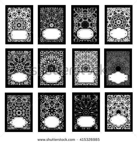 Set retro business invitation card. Vector. Vintage decorative elements. Hand drawn background. Islam, Arabic, Indian, ottoman motifs. - stock photo