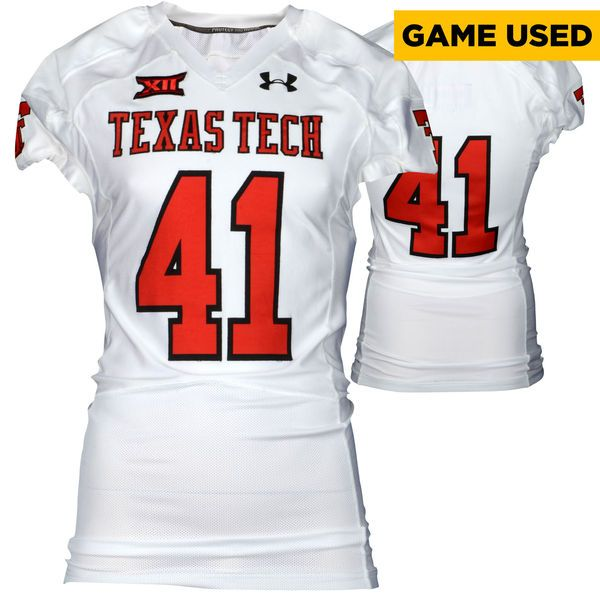 Texas Tech Red Raiders Fanatics Authentic Game-Used White #41 Jersey used during victories against the Arkansas Razorbacks and Texas Longhorns during the 2015 Season - Size 44 - $199.99