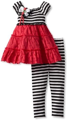 Rare Editions Little Girls' Legging Set, Coral/Black/White, 3T  - Click image twice for more info - See a larger selection of little girl skirt sets at http://girlsdressgallery.com/product-category/skirt-sets/ - girls,toddler,little girls clothing, little girls fashion, little girls dress, little girls fashion, baby, gift ideas