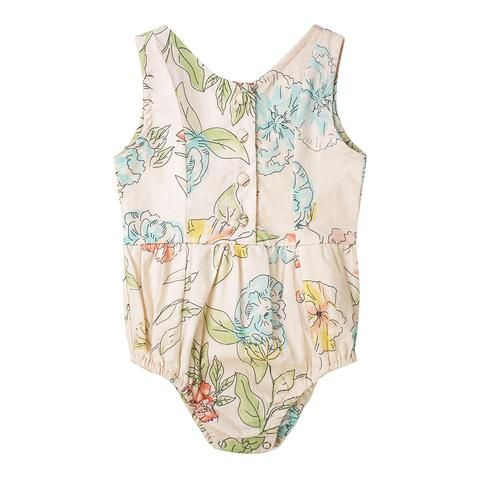 Baby/toddler/little girls playsuit/romper in floral cotton voile. The Evie playsuit by Minouche.