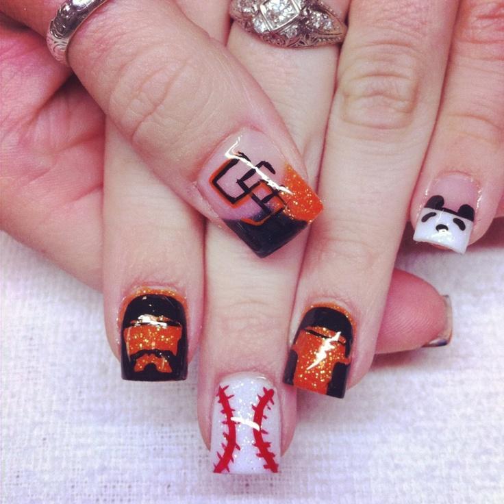 SF giants baseball acrylic nails :) WORLD SERIES 2012!!!! Lincecum, Wilson, and panda (Sandoval)!!!