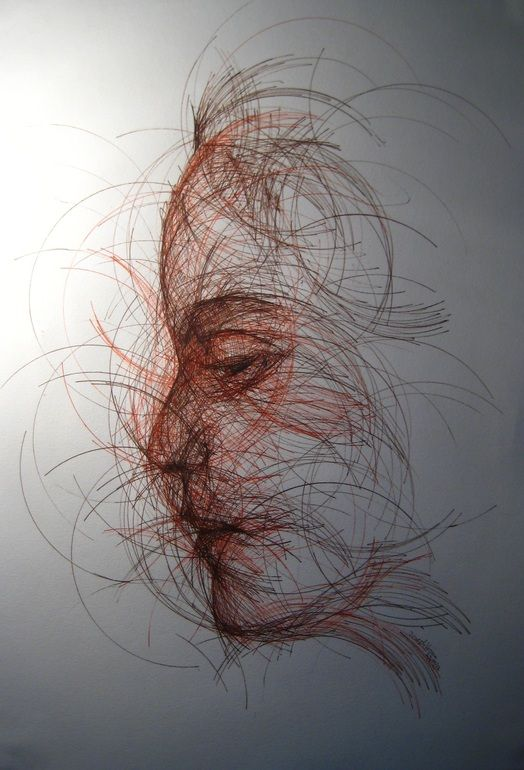 "Saatchi Online Artist: Joseph Vassie; Pen and Ink, 2012, Drawing ""CD Portrait"" Every line of this portrait was drawn around a CD to create this swirling effect. Amazing!!"