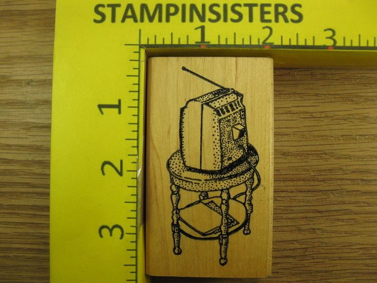 Rubber Stamp Tv Television on Stand by Ken Brown RARE Stampinsisters #1732  | eBay