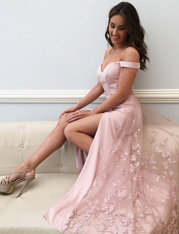 Elegant A-Line Off-The-Shoulder Pink Long Prom Dress  promdresses   longpromdresses  fashionpromdresses  2018promdresses a9ca8fb7c