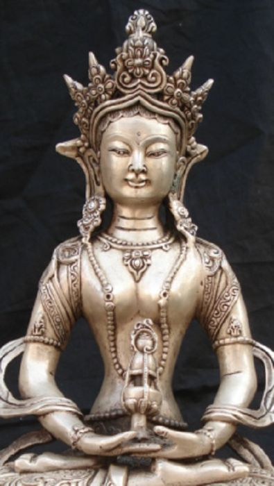 Tibetan Silver Amitayus Bodhisattva Buddha Statue - Amitābha (Sanskrit अमिताभ, Amitābha) is a celestial buddha described in the scriptures of the Mahayana school of Buddhism.